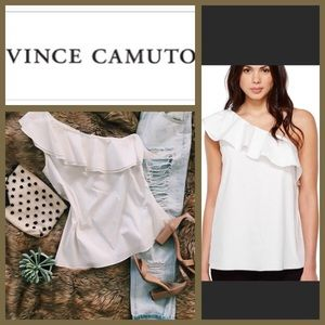 🆕 Vince Camuto White One Shoulder Ruffles Top L